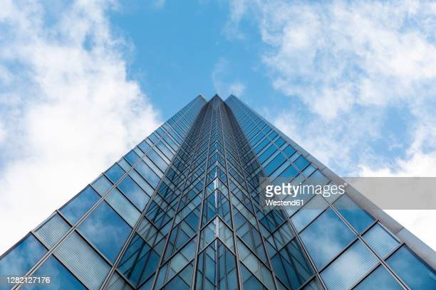 tall modern office glass skyscraper against blue sky, london, uk - built structure stock pictures, royalty-free photos & images