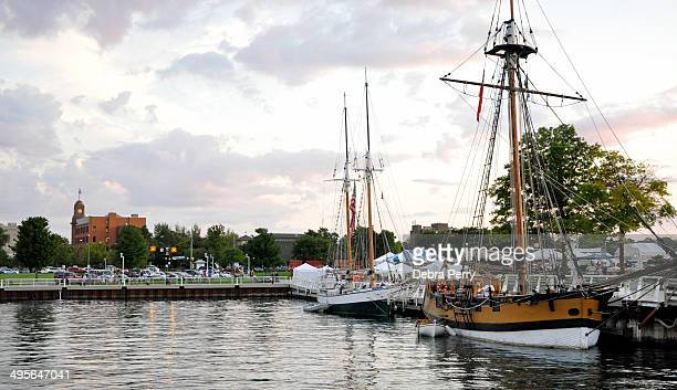 CONTENT] Tall schooners enter the harbor for the evening during the Traverse City Schooners Festival