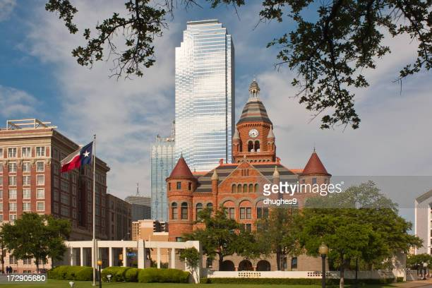 Tall shiny building, Dallas County Courthouse, Dealey Plaza