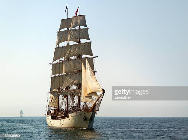 tall ship at sail on sunny morning - slave ship stock photos and pictures