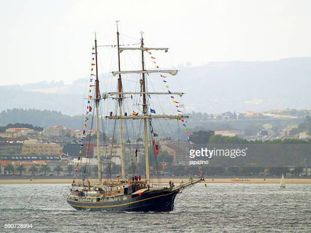 tall ship atlantic challenge - sail boom stock pictures, royalty-free photos & images