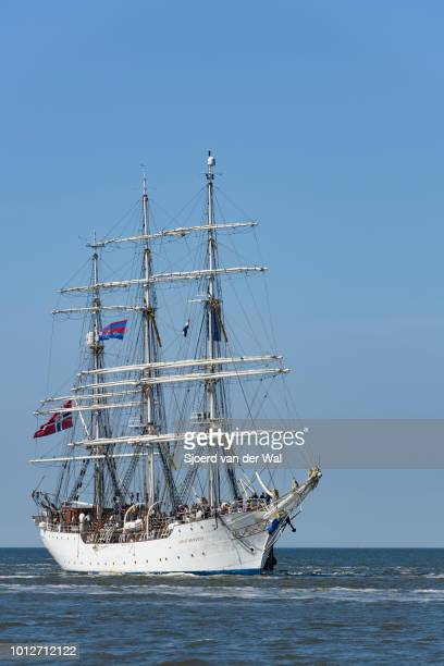Tall Ship Christian Radich from Norway entering the port of Harlingen during the finish of the 2018 Tall Ship Race on August 3 2018 in Harlingen...