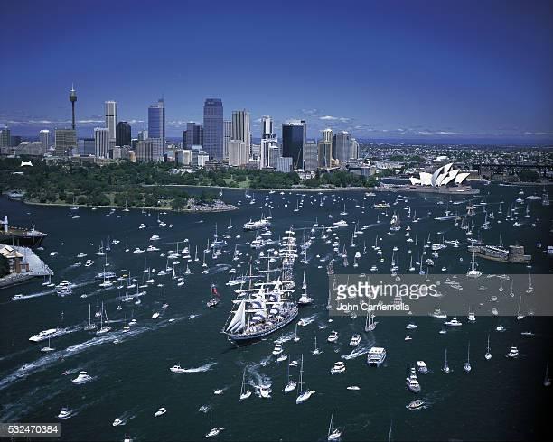 Tall Ship Cuauhtemoc Leading Boat Parade in Sydney