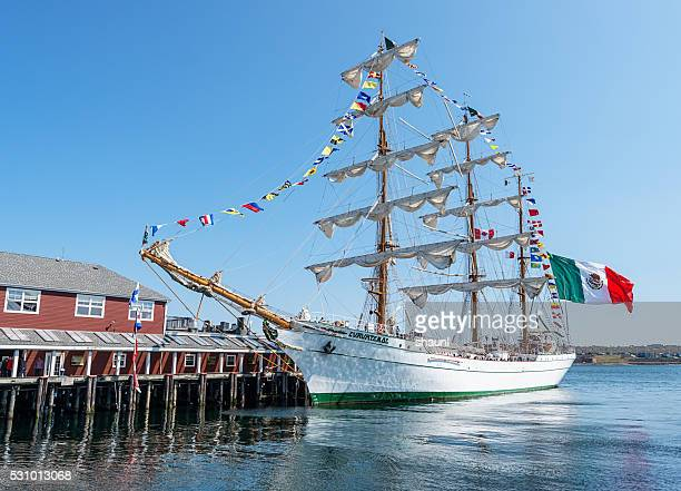 tall ship cuauhtémoc - flag of nova scotia stock pictures, royalty-free photos & images