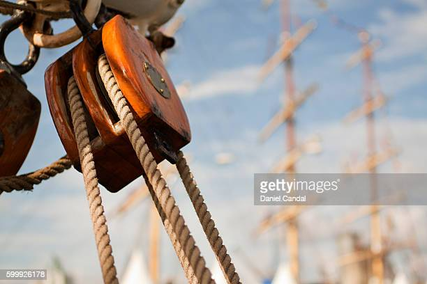 tall ship detail of block during tall ships races 2012 in a coruña, galicia (spain) - pirate ship stock photos and pictures