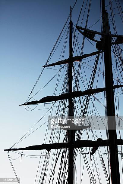 tall ship masts silhouette - sail boom stock pictures, royalty-free photos & images