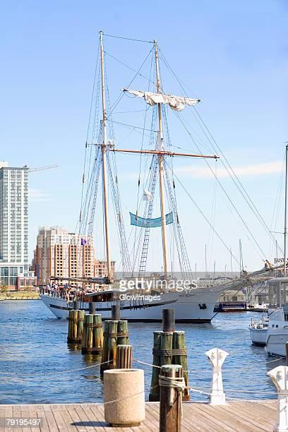 Tall ship moored at a harbor, Inner Harbor, Baltimore, Maryland, USA