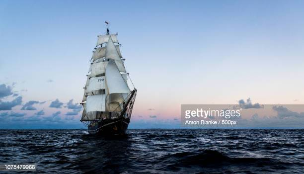 Tall ship Roald Amundsen on the Atlantic ocean.