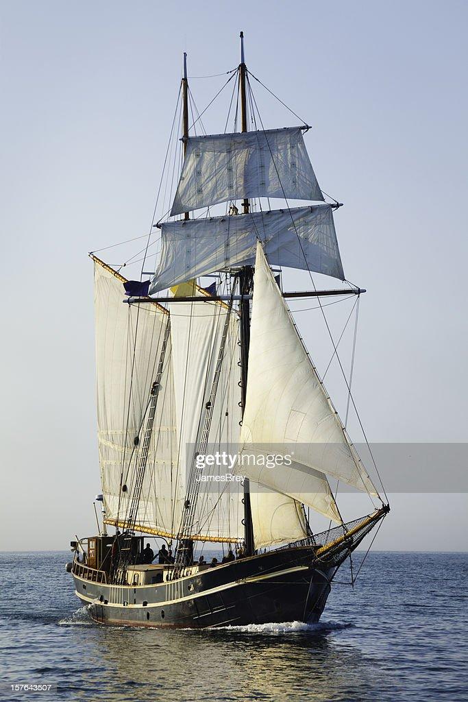 Tall Ship Sailing Open Seas at Morning : Stock Photo
