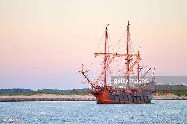 tall ship setting out at sunrise - ocean city maryland stock pictures, royalty-free photos & images