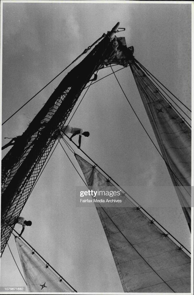 Tall ships arrive in Sydney Harbour.The Juan Sebastian De Elcano from Spain arrives in Sydney Harbour. : News Photo