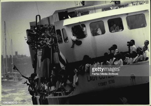 Tall ships arrive in Sydney HarbourThe Sydney ferry Lady Cutler welcomes the Juan Sebastian de Elcano from Spain January 19 1988