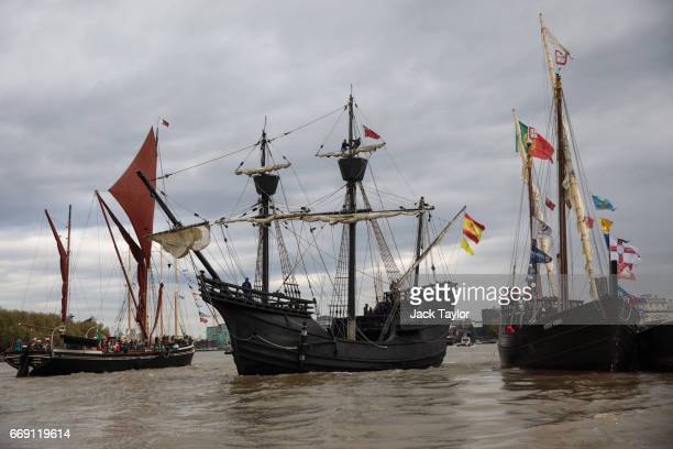 'Tall Ships' sail along the River Thames ahead of the 'Parade of Sails' on the last day of the Royal Greenwich Tall Ships Festival on April 16 2017...