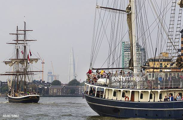 'Tall Ships' sail on the River Thames in central London on September 5 during the Royal Greenwich Tall Ships Festival which runs until September 9...