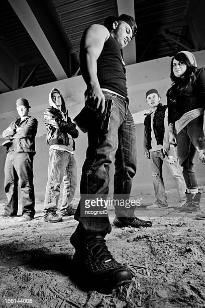 Tall shot of street gang