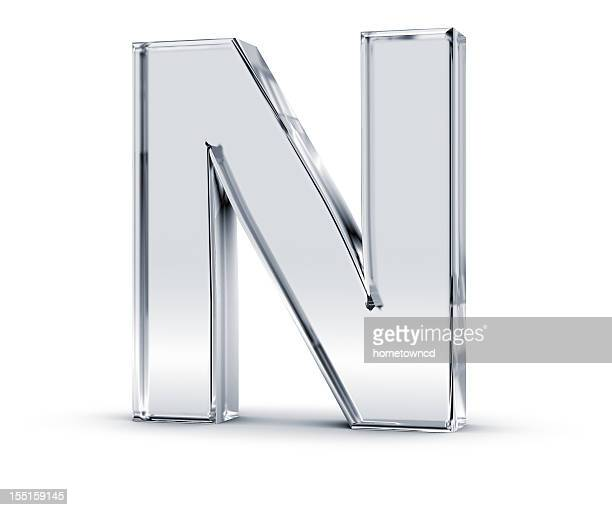 Tall silver letter n with a slight shadow beneath it