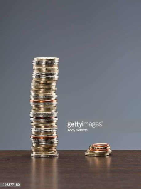 Tall stack of coins next to short stack of coins