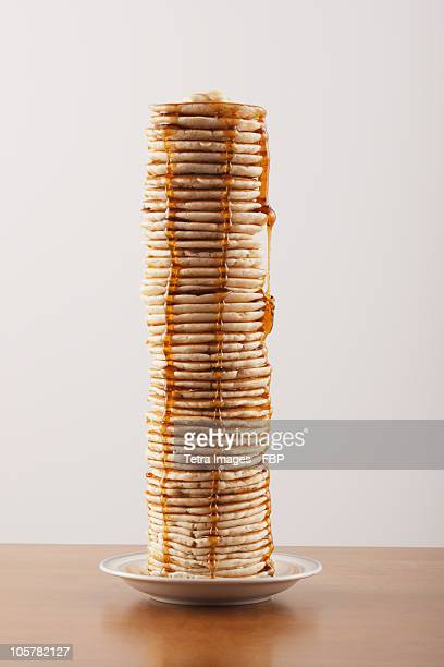 tall stack of pancakes - pancake stock pictures, royalty-free photos & images