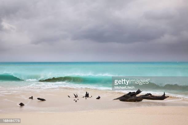 Tall Waves At Caribbean Beach