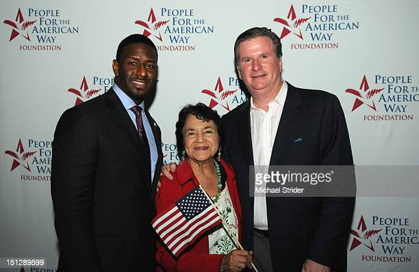 Tallahassee City Commissioner Andrew Gillum Dolores Huerta and People For The American Way President Michael Keegan attend People For The American...