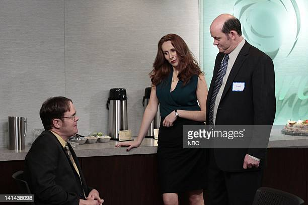 THE OFFICE Tallahassee Episode 815 Pictured Rain Wilson as Dwight Schrute Catherine Tate as Nelly Bertrum David Koechner as Todd Packer Photo by...