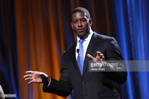 Tallahassee FL Vice Mayor Andrew Gillum speaks onstage during People For The American Way 30th Anniversary Celebration at the Beverly Wilshire Four...