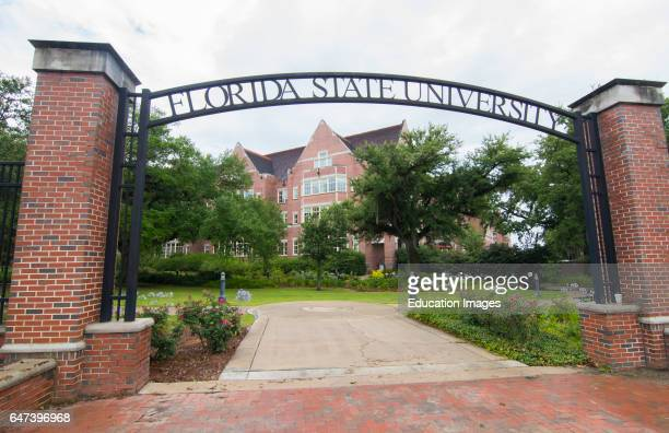 Tallahassee Florida FSU college entrance to school with arch and brick campus