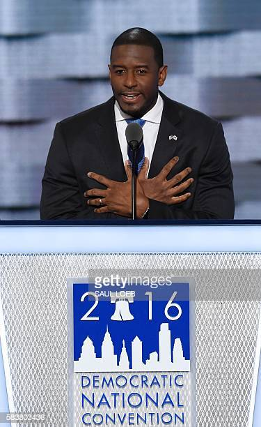 Tallahassee Florida Mayor Andrew Gillum speaks during day Three of the Democratic National Convention at the Wells Fargo Center in Philadelphia...