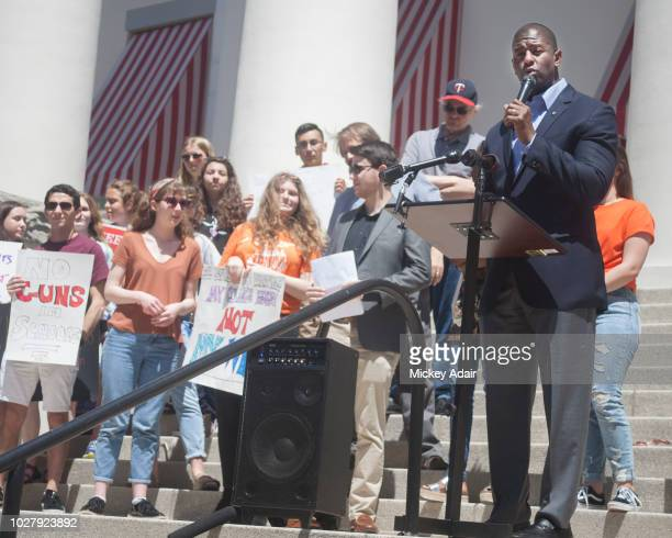 Tallahassee Mayor Andrew Gillum addresses the crowd supporting gun control outside the Old Capitol Museum on April 20 20018 in Tallahassee Florida