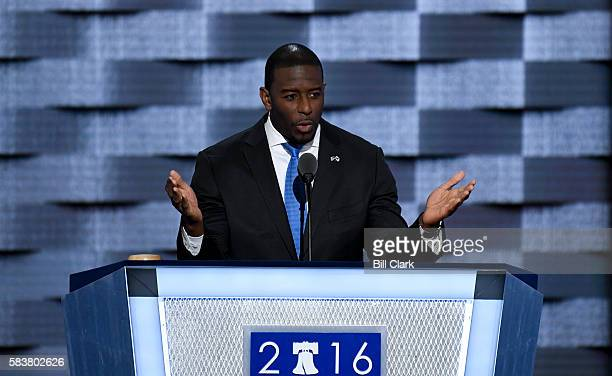 Tallahassee Mayor Andrew Gillum speaks at the Democratic National Convention in Philadelphia on Wednesday July 27 2016