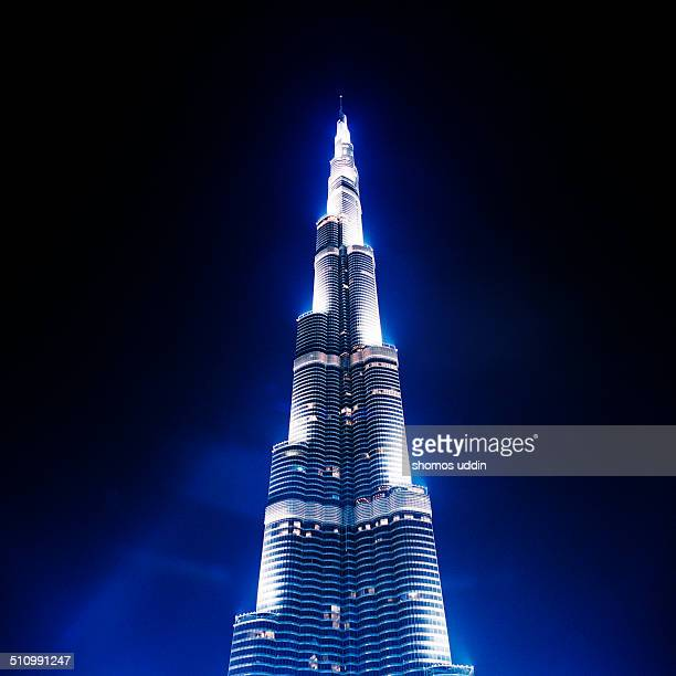 Tallest building in the world illuminated at night