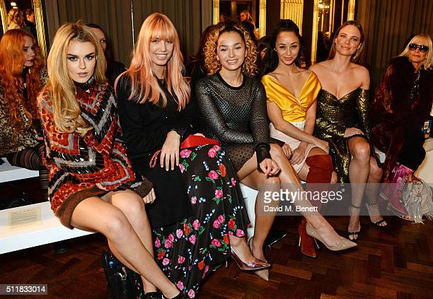 Tallia Storm Amber Le Bon Ella Eyre Cara Santana and Alicia Rountree attend the Emilio de la Morena show during London Fashion Week Autumn/Winter...