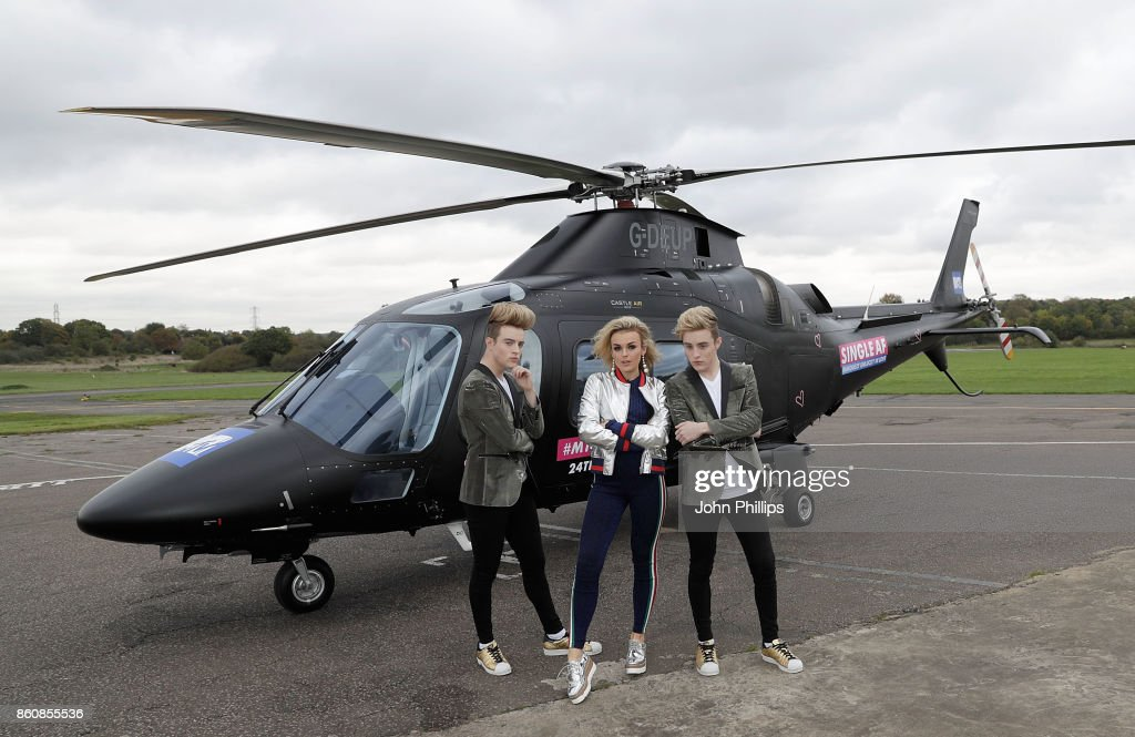 Tallia Storm and Jedward during the MTV 'Single AF' Photocall at Elstree Studios on October 13, 2017 in Borehamwood, England. Seven celebrities embark on the global hunt for love with the help from their social media followers.
