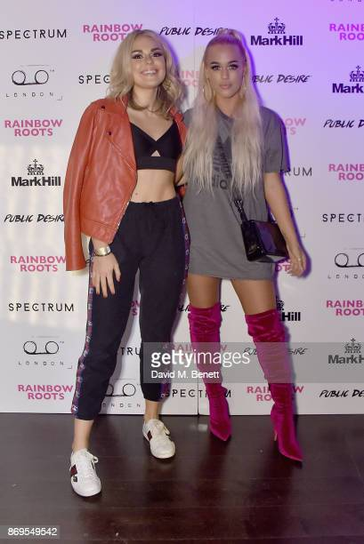 Tallia Storm and Lottie Tomlinson arrive at Lottie Tomlinson's 'Rainbow Roots' book launch at Tape London on November 2 2017 in London England