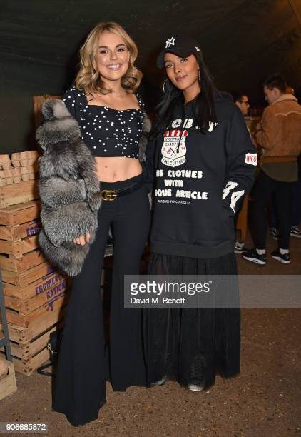 Tallia Storm and Maya Jama attends the Grand Opening of the Cadbury Creme Egg Camp on January 18 2018 in London England