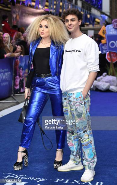 "Tallia Storm and Stevie Ruffs attend the ""Onward"" UK Premiere at The Curzon Mayfair on February 23, 2020 in London, England."