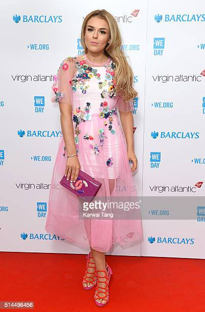 Tallia Storm arrives for WE Day at SSE Arena on March 9 2016 in London England WE Day is a celebration of youth making a difference in their local...