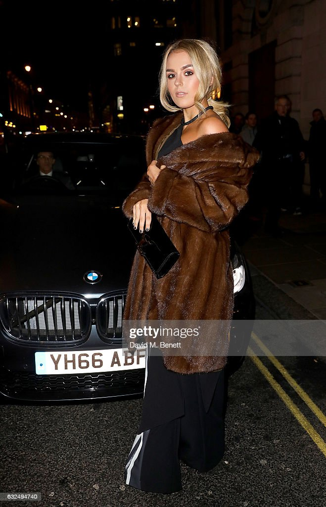 Tallia Storm arrives in style in the luxury BMW 7 Series at the Debrett's 500 Gala, at BAFTA on January 23, 2017 in London, England.