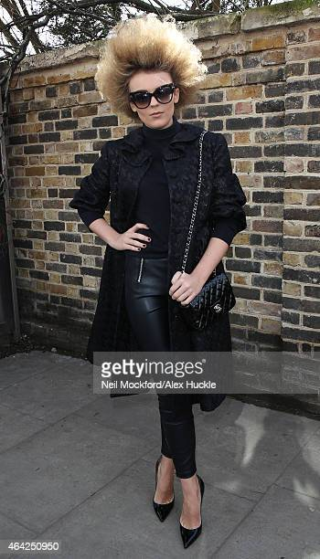 Tallia Storm arriving for Burberry Prorsum on February 23 2015 in London England
