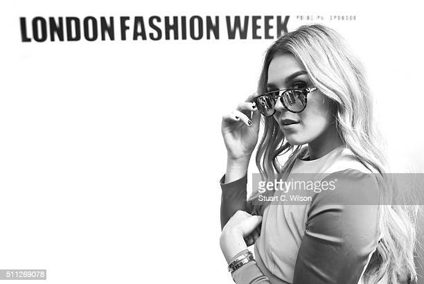 Tallia Storm at the Brewer Street Carpark venue during day one of London Fashion Week Autumn/Winter 2016/17 at on February 19 2016 in London England
