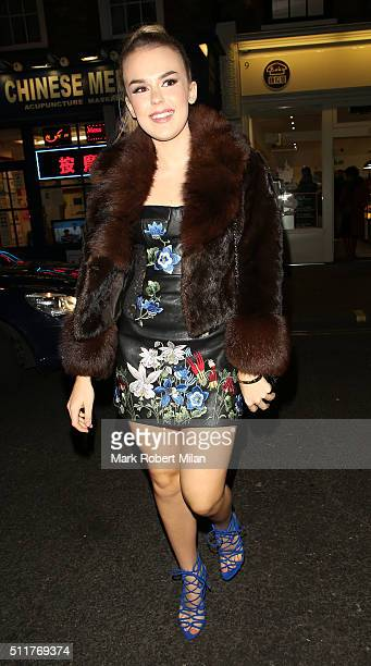 Tallia Storm attending the JF London a/w1617 presentation and party at the W hotel on February 22 2016 in London England