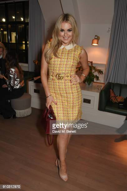 Tallia Storm attends the launch of Teresa Tarmey's new 'at home facial system' at Mortimer House sponsored by CIROC on January 25 2018 in London...