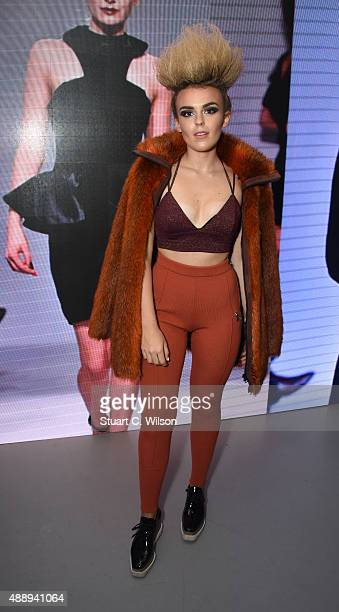 Tallia Storm attends the PPQ show in collaboration with Moda In Pelle Shoes during London Fashion Week at The Vinyl Factory on September 18 2015 in...