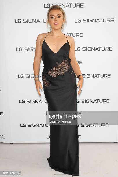 Tallia Storm attends the the LG SIGNATURE rollable television launch at Cromwell Place on July 28, 2021 in London, England.