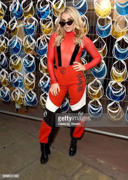 Tallia Storm attends the Wrangler Revival Blue Yellow event at Poland Street Car Park on March 22 2018 in London England
