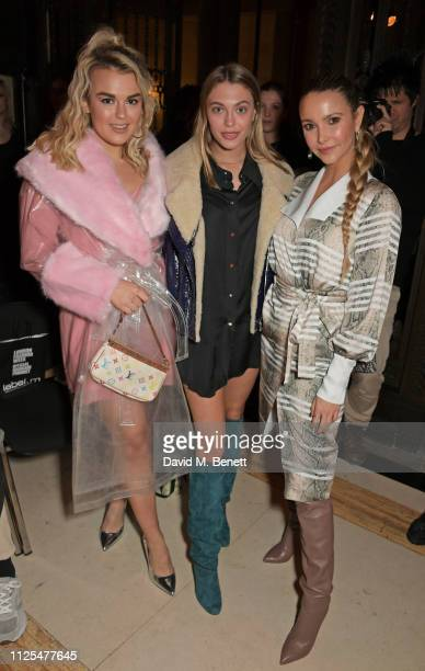 Tallia Storm Heloise Agostinelli and Sophie Hermann attend the Pam Hogg show during London Fashion Week February 2019 on at The Freemason's Hall in...