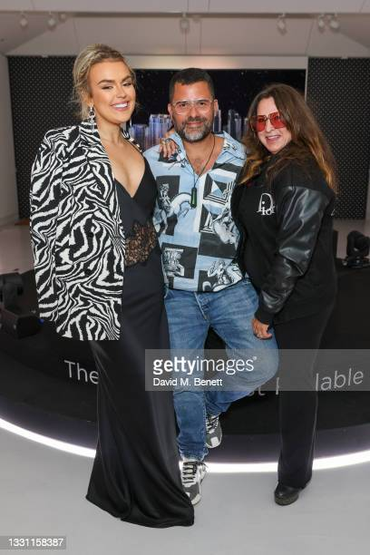 Tallia Storm, Mariano Vivanco and Fran Cutler attend the the LG SIGNATURE rollable television launch at Cromwell Place on July 28, 2021 in London,...