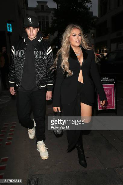 Tallia Storm seen attending boohoo x Megan Fox - launch party on October 19, 2021 in London, England.