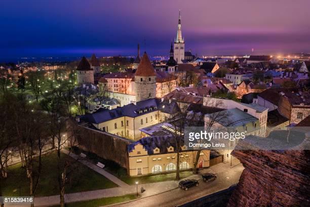 tallinn aerial old town cityscape, estonia. - tallinn stock-fotos und bilder