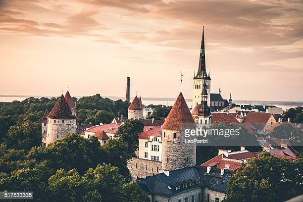 tallinn aerial old town cityscape - tallinn stock pictures, royalty-free photos & images